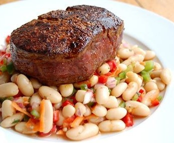Filet Mignon with White Bean Salad