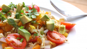 Spicy Egg Scramble with Avocado & Cilantro by Valerie Cogswell