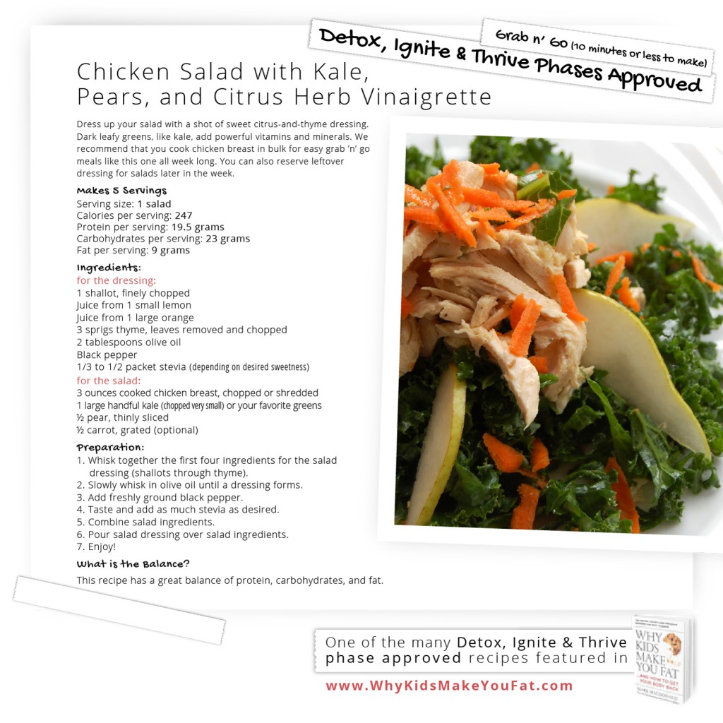 Chicken Salad with Kale Pears and Citrus Herb Vinaigrette