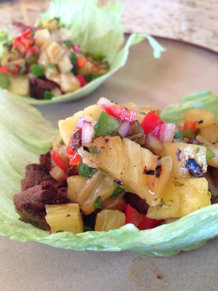 Filet lettuce wraps with grilled pineapple salsa by Kate Flatt