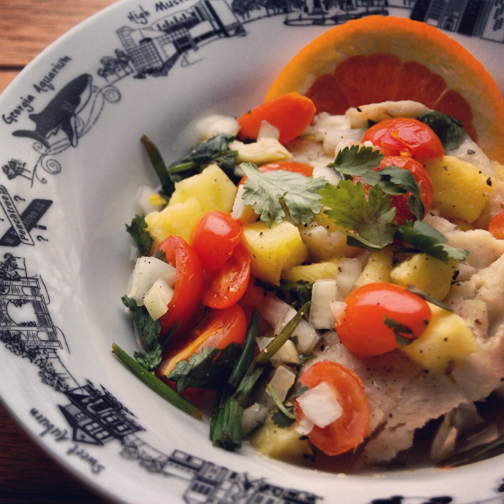 Baked Fish in Foil with Tomato Pineapple and Cilantro by Chef Valerie Cogswell