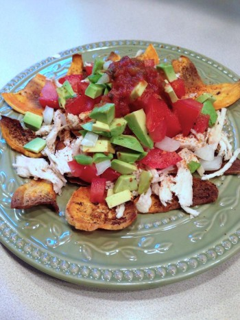 Chicken Nachos Over Homemade Sweet Potato Chips by Shannon Davis