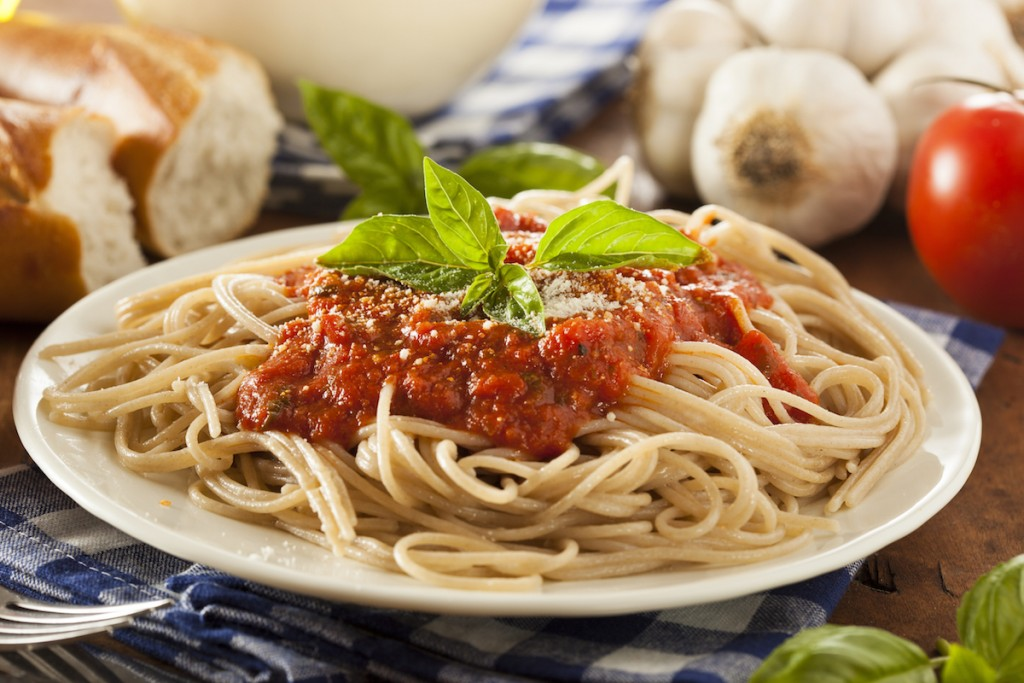 Homemade Spaghetti with Marinara Sauce and Basil
